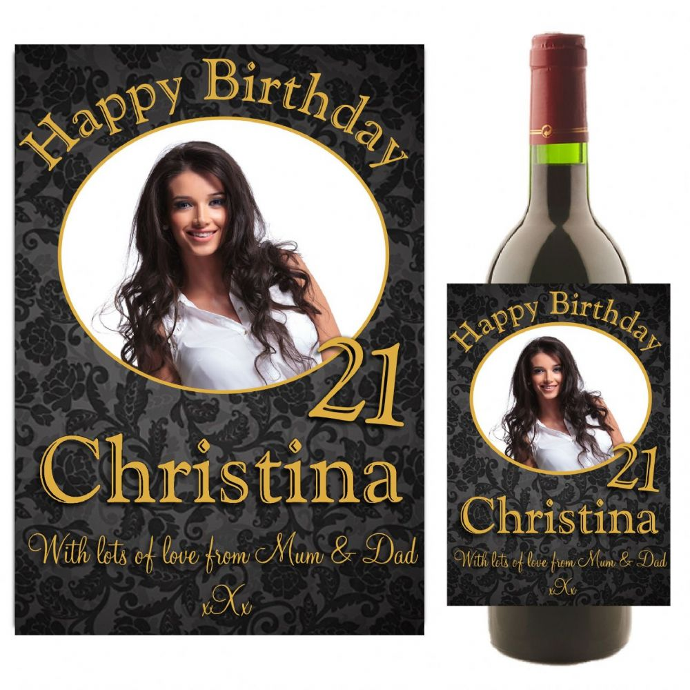 Personalised Happy Birthday Wine Champagne Bottle Photo